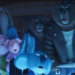 The bears, along with Buster Moon and the cast, moments before the Moon Theater's destruction.