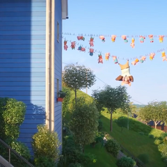 The children hang from a clothesline as a result of the malfunctioning of Rosita's machine.