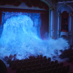 The flood destroying the theater.