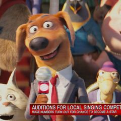 Bob reporting about the singing competition.