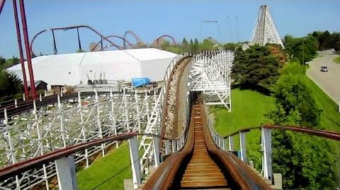 Video - American Eagle (blue side) front seat on-ride HD POV Six