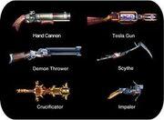 Six guns weapons