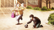 Moe finds Sasuke playing with a ball like a cat