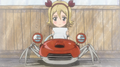 Hime in a crab car reading a list.png