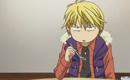 Sho eating his pudding