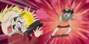 Kyoko throwing the food