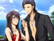 Kyoko blushing with Ren in the game