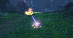 Skyforge Thandi Drilling Station gunner and Mystical Hydra exchange fire