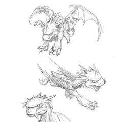 Diseños de Spyro cuando aun era conosido como el dragon rojo