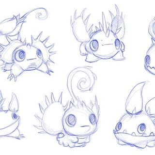 Primeros bocetos de Food Fight, dándole una apariencia adorable y equipado con venus atrapamoscas o chiles picantes.