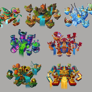 Ilustraciones artísticas de todas las pistas marinas por el artista del juego