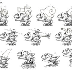 Conceptos de Chopper remodelado en Trap Team con distintos tipo de armas.