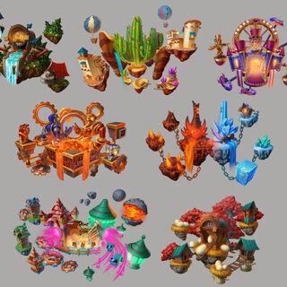 Ilustraciones artísticas de todas las pistas aéreas por el artista del juego