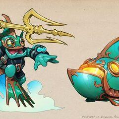 Ilustración de Deep Dive Gill Grunt y el Reef Ripper