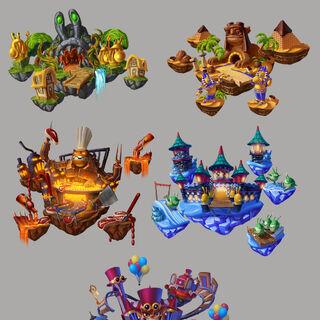Ilustraciones artísticas de todas las pistas terrestres por el artista del juego