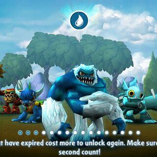 Los skylanders de agua de Spyro`s Adventure en la pantalla de carga de Skylanders: Universe