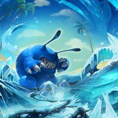 Arte de Battlecast de Chompy Mage convertido en un gigantesco Chompy gelido.