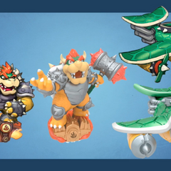 Bocetos preliminar de Bowser y el Clown Cruiser y figura final.