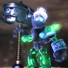 Crusher con su nuevo martillo con la cara de su padre de la ruta <i>Superaplastador</i>, y armadura de la ruta <i>Molinillo de rocas</i>