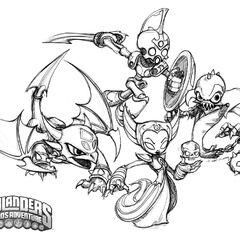 Dibujo de los skylanders de muerto en Spyro`s Adventure