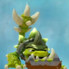 Slobber Tooth y su Mandíbula, caparazón picudo y cola picuda de sus mejoras de <i>Mandíbula de Hierro</i>,  <i>Difícil de ocultar</i> y <i>Aumento de peso</i>