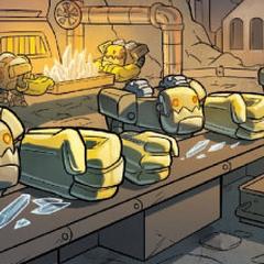 Jawbreaker, junto con otros robots iguales a el, formado parte de la línea de esamblage del Sky Train