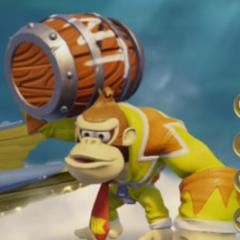 TC Donkey Kong con su barril de TNT de la ruta