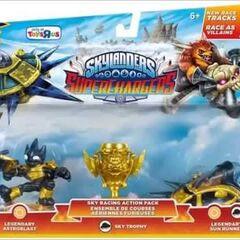 Paquete de carreras aéreas alternativo que contiene a Legendary Astroblast, el Legendary Sun Runner y el trofeo aéreo