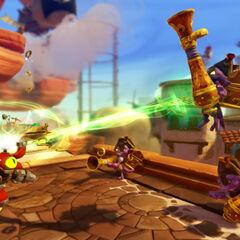 Magna Charge levitando a los piratas