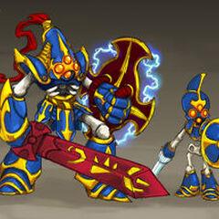 Ilustración de Chop Chop junto con Krypt King, quien durante desarrollo se llamaba