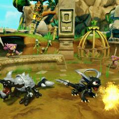 Spyro Oscuro y Slobber Tooth Oscuro luchando juntos