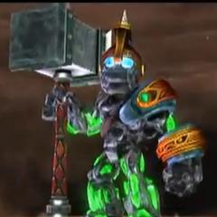Crusher con su nuevo martillo de la mejora <i>Superaplastador</i>, y armadura de la ruta <i>Maestro pedregoso</i>