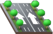 Six-lane one-way road with decorative trees