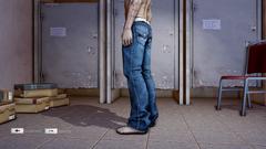 HangSui Baggy Jeans Blue Left