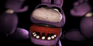 A still of Bonnie's jumpscare.