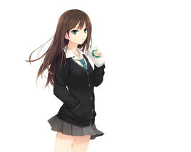 Anime-Girl-Brown-Hair-Green-Eyes-HD-Wallpaper