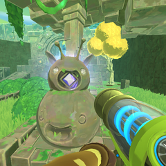 Phosphor Slime Statue atop a decorative Slime Statue at the Ruins entrance