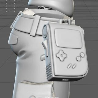 In-progress Beatrix model showcasing a Gameboy-like pouch on the side.