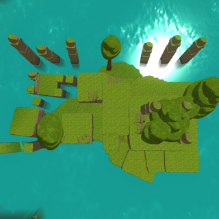 Aerial view of the prototype Ancient Ruins in 0.2.0.