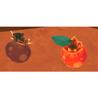 A rotten and a normal Pogofruit, side by side.
