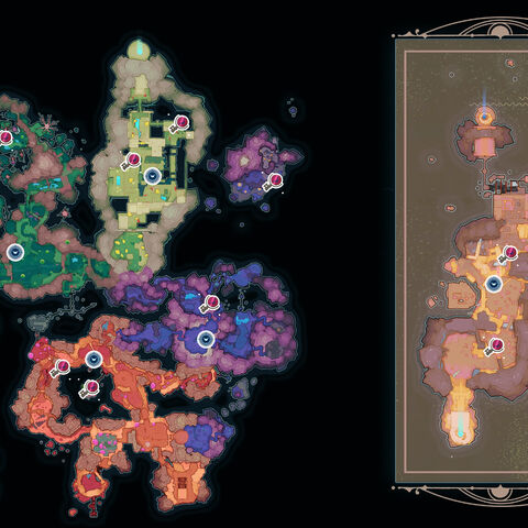 A map visually indicating the locations of <i>map data nodes</i> and wild gordos that drop <i>slime keys</i>.
