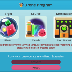 The warning before reprogramming a Drone with items in its inventory.