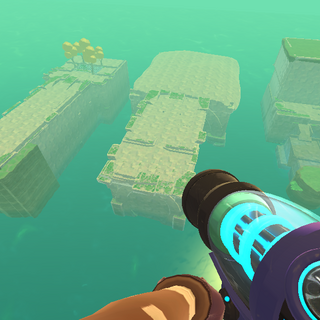 The exterior of all three vaults. All are at slime sea level and unload when travelling far enough away.
