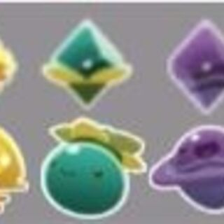 Artwork of all the current plorts in the game, alongside their slimes.