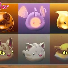 Early designs of slimes including the Tabby Slime.