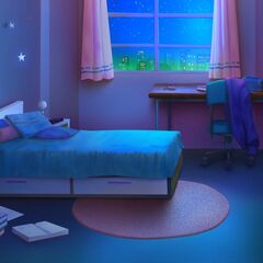 Pokój z innej perspektywy w nocy
