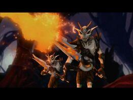 Demony z ognistymi ostrzami