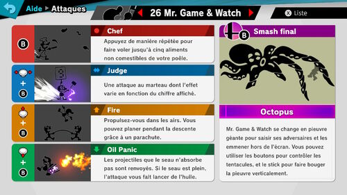 Attaques Ultimate Mr.Game&Watch