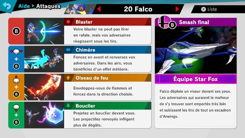 Attaques Ultimate Falco