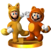 Trophée Mario tanuki et Luigi kitsune 3DS
